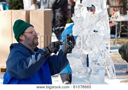 Ice Sculptor At Winter Carnival