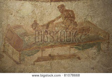 Erotic Fresco From The Largest Pompeii Brothel