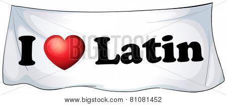 I love Latin banner on a white background