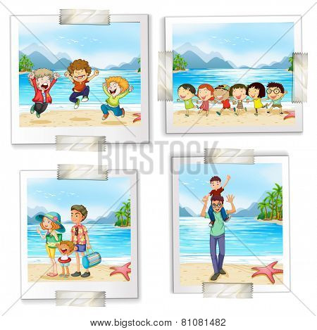 Four different pictures at the beach on a white background