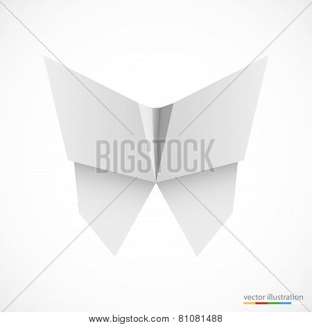 White origami butterfly on white. Vector
