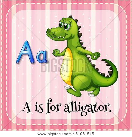 Illustration of Letter A is for alligator