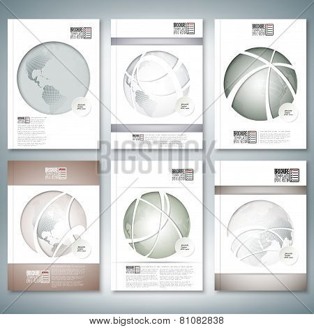 Dotted world globes. Brochure, flyer or report for business, template vector