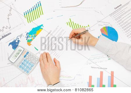 Business Man Working With Financial Data - Ready To Sign Contract