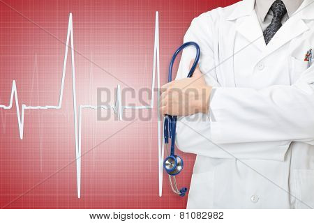 Doctor With Stethoscope In Hand And Electrocardiogram On Red Color Background