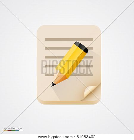 Notebook with pencil. Vector