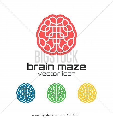 Set of brain maze icons