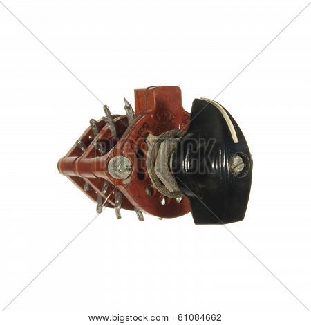 Circuit Breaker With A Black Handle Isolated On White Background.