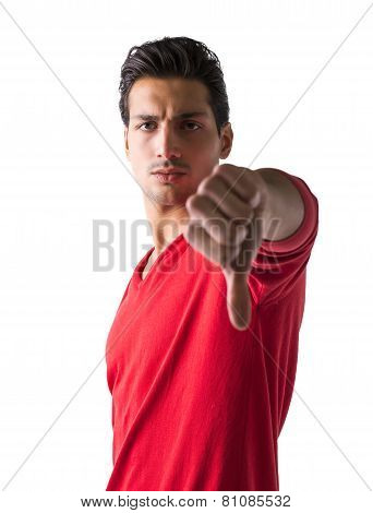 Handsome Young Man Doing Thumb Down Sign
