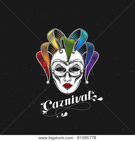vector illustration of engraving rainbow carnival mask emblem and ornate lettering logo. Masquerade