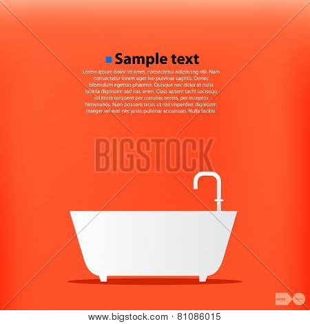 Cartoon Bath. Orange background. Vector