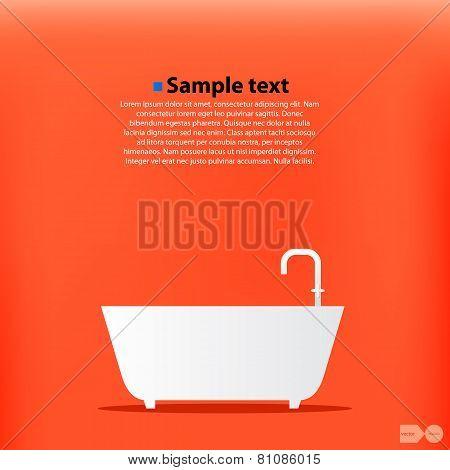 Cartoon Bath. Orange background. Vector
