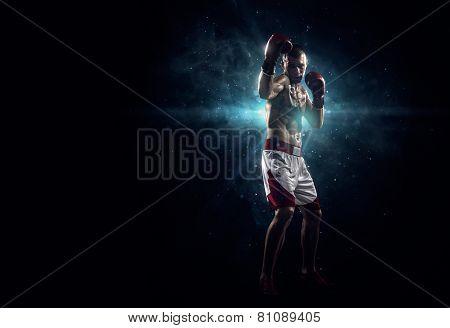 Professionl boxer in the dark