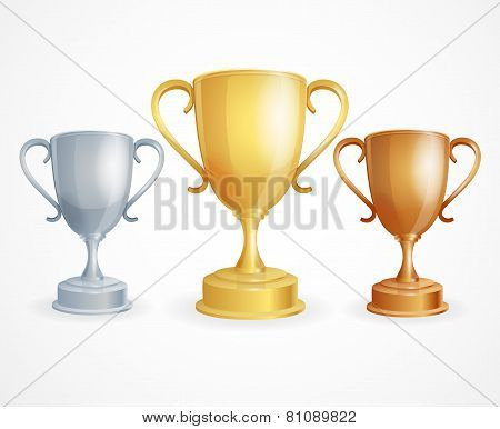 Vector three trophies. Gold, Silver and Bronze