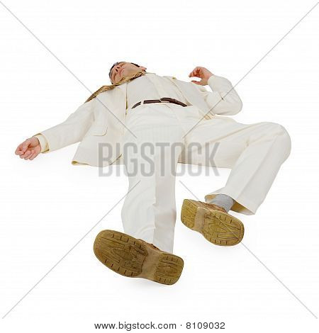 Defeated Businessman Lying On White