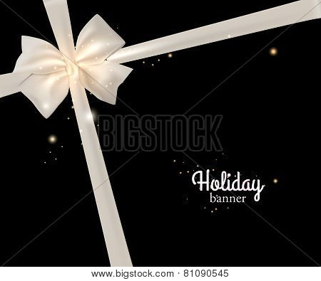 Elegant holiday banner with photorealistic white bow and place for text on black background.