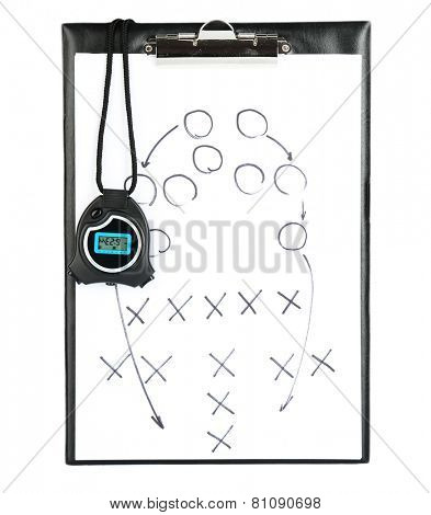 Clipboard with stopwatch isolated on white