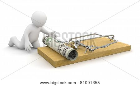 3D man is about to catch the money placed on mousetrap (clipping path included)