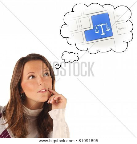 Close-up Portrait Of Girl Dreaming About On-line Justice Consultation (isolated)