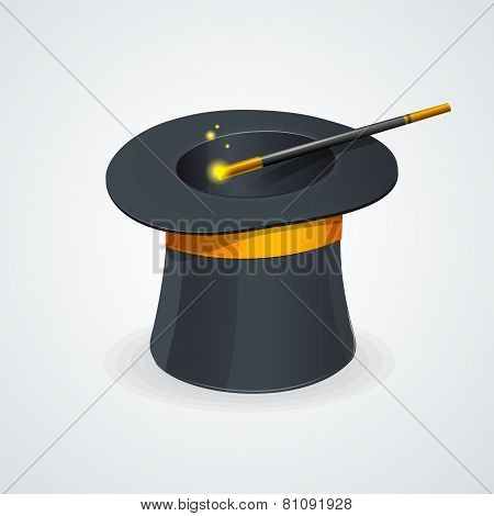 Vector magic wand and cylinder hat