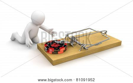 Man and Mousetrap with Casino chips