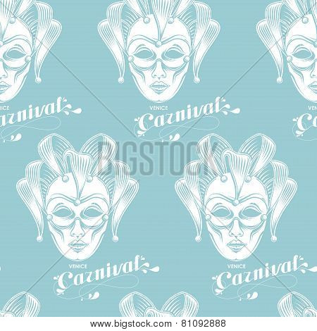 vector background of engraving venetian carnival mask or jester emblem and ornate lettering logo. se