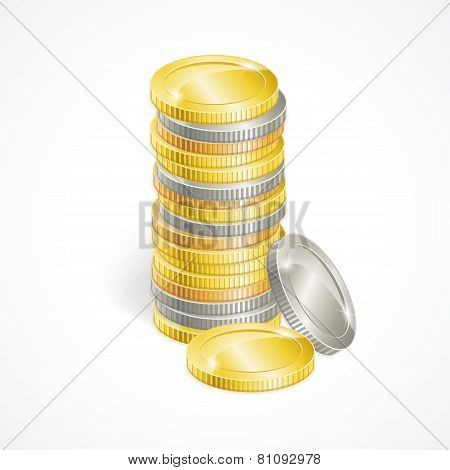 Vector stacks of golden and silver coins