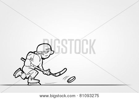 Close up of human hand and caricature of funny hockey player
