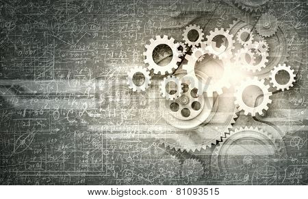 Cogwheels and gears mechanism on digital business background