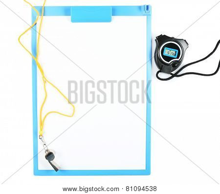 Clipboard with sports equipment isolated on white