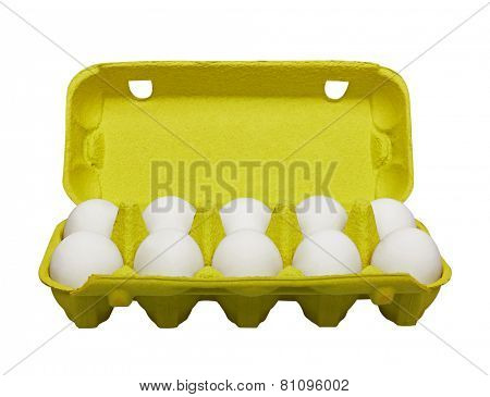 Cardboard egg box with eggs, isolated on white