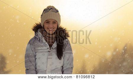 Pretty Woman Enjoying The Snow