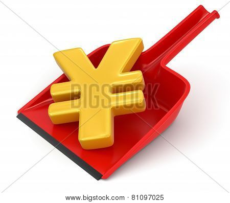 Dustpan and Yen Sign (clipping path included)