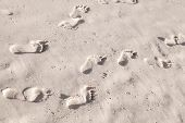 foto of footprint  - Footprints in white coastal sand on the ocean beach - JPG
