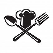 foto of spooning  - monochrome image of chef hat with spoon and fork - JPG