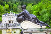 stock photo of garden sculpture  - beautiful garden with sculptures in Linderhof castle park - JPG