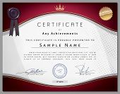 image of dots  - Vintage certificate template with vinous border and golden elements on dotted paper in vector - JPG