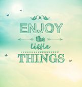 stock photo of blue things  - Enjoy the little things text with little butterflies - JPG