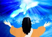 pic of descending  - Jesus saw the heavens open up and the Holy Spirit descending like a dove - JPG