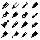 stock photo of marker pen  - set of 16 pen and pencil icons - JPG
