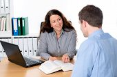 foto of counseling  - business woman and man in counseling interview - JPG