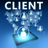 picture of clientele  - Client illustration with tablet computer on blue background - JPG