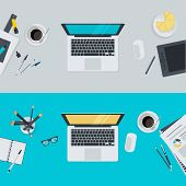 stock photo of pen  - Vector illustrations for office workspace - JPG