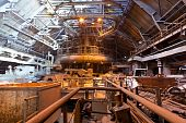 stock photo of blast-furnace  - Blast furnace shop at the metallurgical plant - JPG