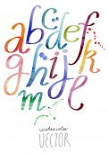 picture of alphabet  - Watercolor painting alphabet vector file - JPG