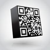 foto of qr codes  - 3D cube with QR code vector illustration - JPG