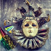 picture of blowers  - Classical venetian carnival mask with blower on wood - JPG