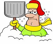 stock photo of snow shovel  - Cartoon illustration of a man buried in snow and holding a snow shovel - JPG