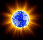 picture of three dimensional shape  - Image of  Network globe on light - JPG