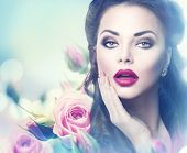 image of  lips  - Retro woman portrait in beauty pink roses - JPG
